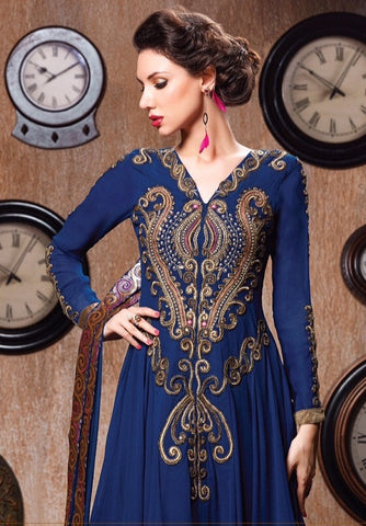 Blue designer long semi stitched suits with heavy embroidered work on top and bottom