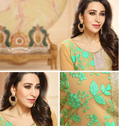 Green and beige long straight salwar suits