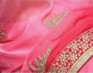 Designer Silk Chiffon pink saree with zari work