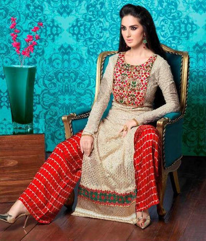 Designer straight long salwar suits with chiffon dupatta