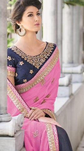 Half chiffon and half shimmer crepe saree with pink pallu