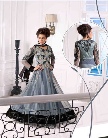 Designer long floor length heavy embroidery anarkali suits with black dupatta