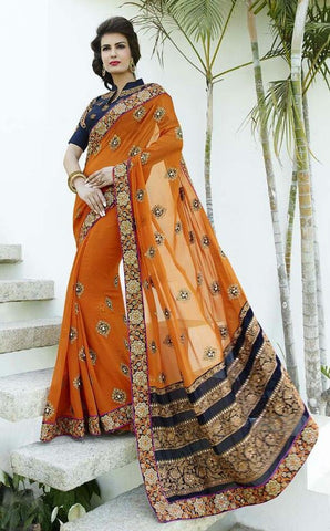 Orange , Blue,Bemberg,Designer wedding saree with heavy embroidery work