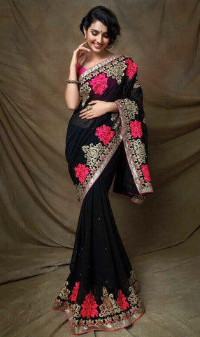 Designer Black Georgette Saree with Raw Silk Blouse