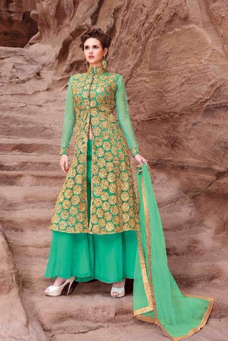 Straight long palazzo style long green suits with heavy embroidery on top