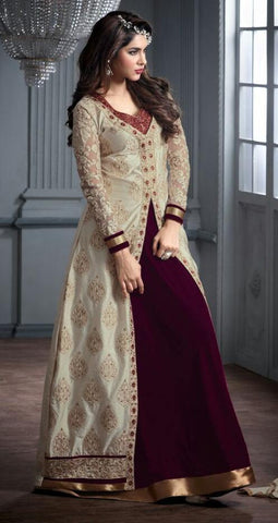 Maroon , Cream,velvet,Designer staight long suits with velvat fabric