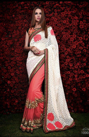 Designer peach net saree for parties and weddin