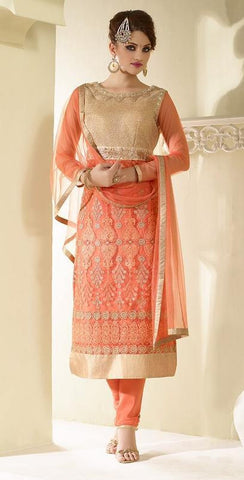 Orange embroidered knee length suits with orange dupatta