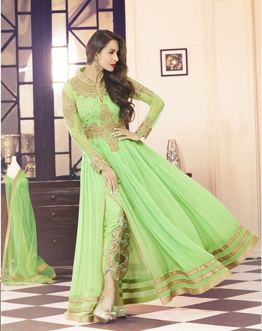 Green heavy embroidered anarkali long floor length semi stitched suits