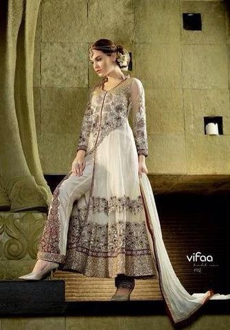 Off white designer long anarkali net suits