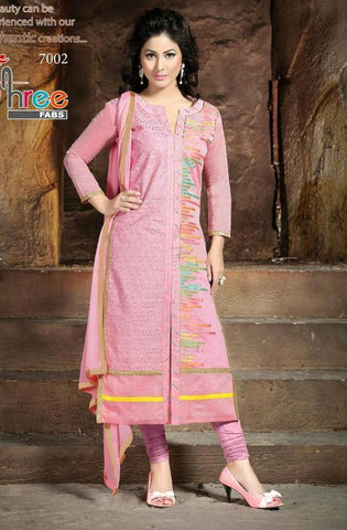 Pink straight knee length salwar suits dress material