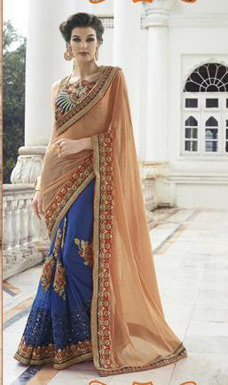 Peach and Blue Chiffon and net bridal saree