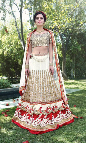 Wedding lehenga White , Red,Pure silk