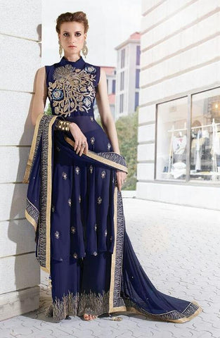 Embroidered heavy blue semi stitched designer suits