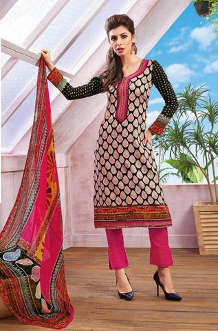 printed straight knee length salwar suits dress material with printed dupatta