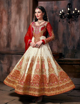 Red and beige designer heavy embroidery anarkali frock suits semi stitched