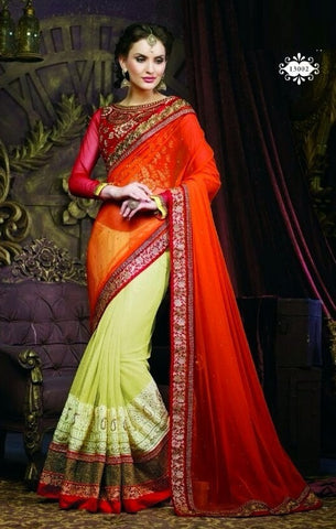 Saree Net GeorgetteBlouse :Fancy,Yellow,orange,red