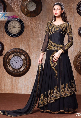 Black anarkali long floor length semi stitched heavy embroidered suits