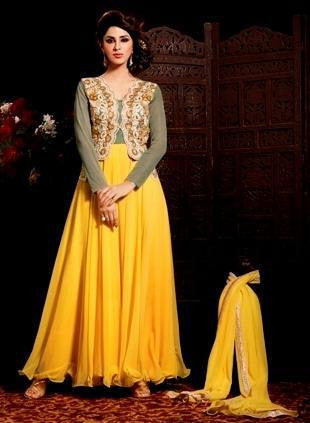 Designer suits anarkali suits party wear suits embroidery suits,Yellow , green,Georgette