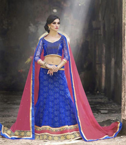 Blue , pink,Net,Heavy designer lehenga with heavy embroidery for wedding