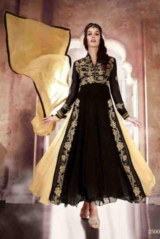 Embroidered black and beige long frock anarkali semi stitched suits