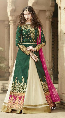 Beige & Green Silk Suits With Pink Dupatta
