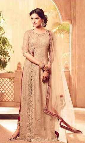 Beige Net Straight Side slit Suit Along With Red Bottom Beige Dupatta