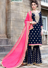 Blue Georgette Sharara Suit With Pink Dupatta