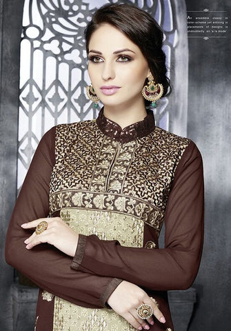 Brown Georgette Long Salwar Kameez
