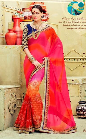 Multicolor,Georgette,Party wear designer saree with designer blouse