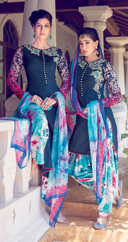 Blue,Cotton,Patiyala suits designer suits