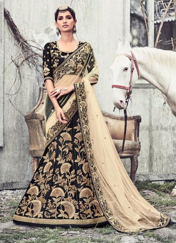 Black , Beige,Net,Designer wedding lehenga saree