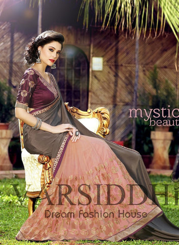 Brown and pink double shaded saree