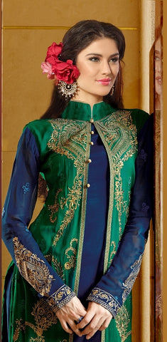 Blue and green heavy embroidered knee length designer salwar suits