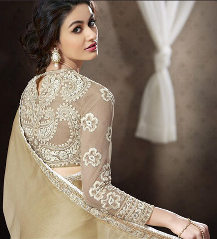 Designer off white net saree with net blouse with work