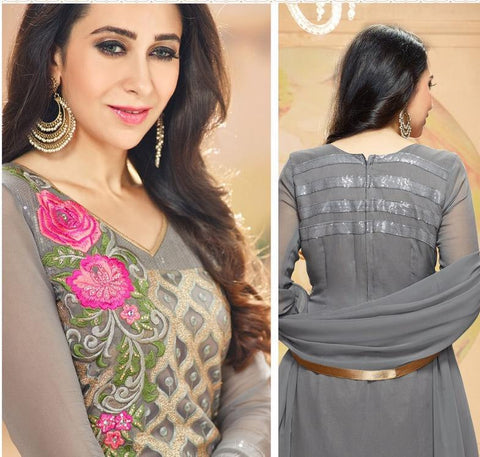 Grey embroidered straight Georgette salwar suits