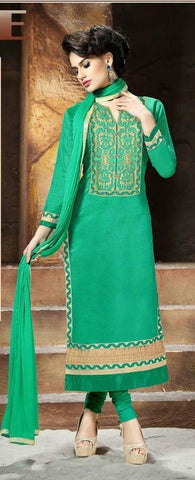 Green embroidered long straight salwar suits dress material