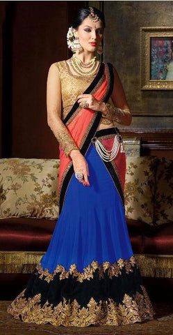 Blue , Pink , Beige,Georgette,Designer embroidered wedding lehenga designer lehenga
