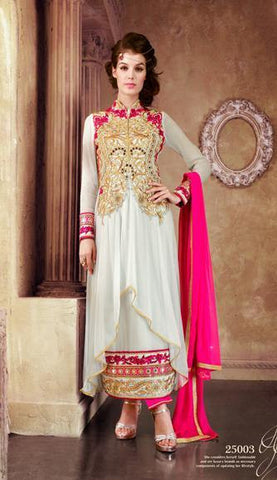 White and pink heavy embroidery straight long semi stitched suits
