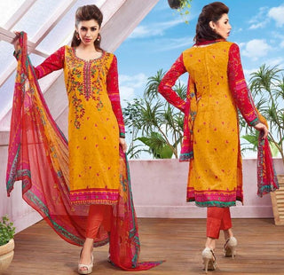 Yellow and red printed knee length salwar suits dress material