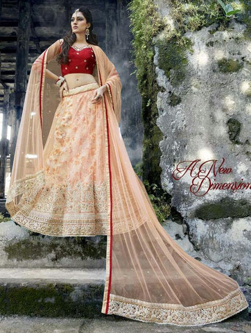 Peach , red,Net,Heavy designer lehenga with heavy embroidery for wedding