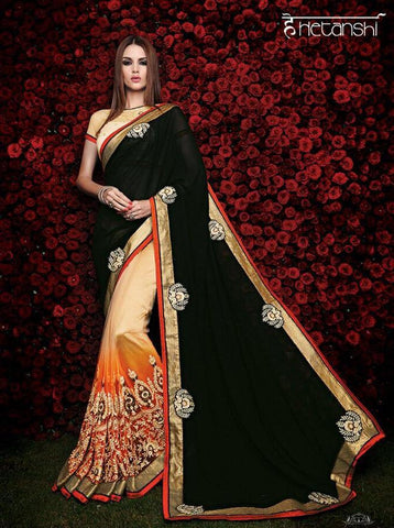heavy designer embroidery saree wedding saree,Georgette,Black , Yellow