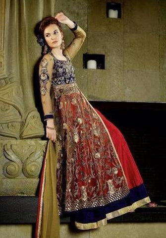 Designer long red and blue anarkali net and silk suits