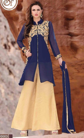 Palazzo style designer blue embroidery straight knee length suits with heavy embroidery