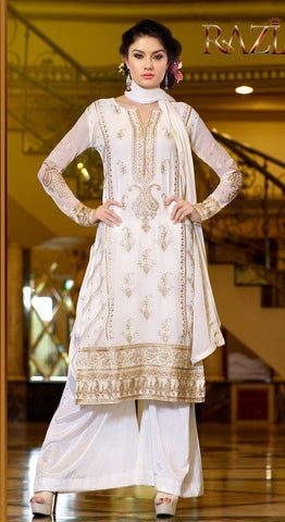 Designer white heavy embroidered knee length salwar suts