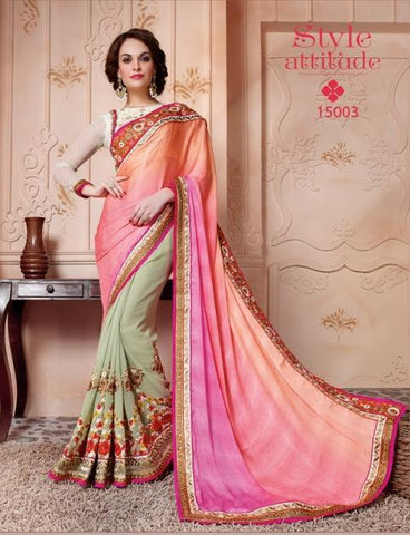 Designer pink and beige saree with astonishing pallu and work on base