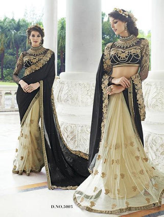 Black and golden net and georgette  bridal saree