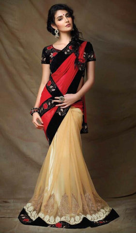 Designer Red and Beige Net Saree with Black Blouse
