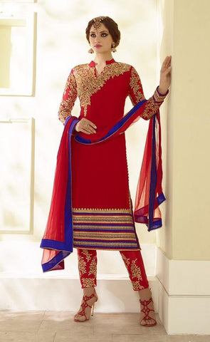 Straight knee length red suits with embroidered bottom