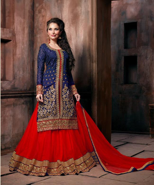 98723b1a7a ... floor length long suits with lehenga style heavy embroidered semi stitched  suits. Anarkali suits Blue   Red in GEORGETTE
